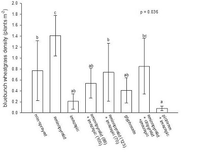 graph showing effect of herbicide on bluebunch wheatgrass density 4 years after treatment