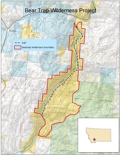 Map of bear trap wilderness project
